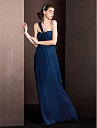 Floor-length Silk Bridesmaid Dress - Sheath / Column One Shoulder with Draping / Ruching