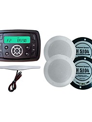 Waterproof Marine Radio Stereo ATV UTV Audio Receiver+4 Inch White Waterproof Speakers+Radio Antenna