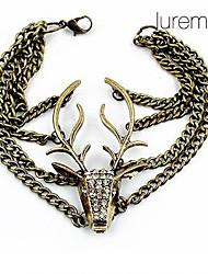 cristais lureme®vintage Deer Head charme pulseira