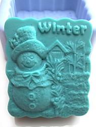boneco de neve do inverno ferramentas bolo fondant de chocolate shaoed silicone bolo molde decoração, l8.1cm * * w7.3cm h4cm