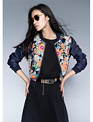 Leather Jacket Women's Embroidery Stitching Caseball Uniform PU  Jacket