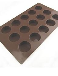 15 Lochkreisform Kuchen Eis Gelee Schokoladenformen, Silikon 29,5 x 17,2 x 2 cm (11,6 × 6,8 × 0.8inch)
