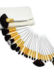 Professional White Luxry 24Pcs Makeup Brush Kit Cosmetic Make Up Set with White Pouch Bag