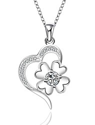 Cremation Jewelry 925 sterling silver Heart Flower with Zircon Pendant Necklace for Women