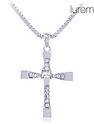 Men's Alloy Diamond Inlaid Cross Necklace (Silver)
