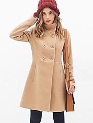 верблюд женщин тонкий двубортный шерстяное пальто вскользь пальто