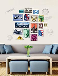 Wall Stickers Wall Decals, Special Vintage Stamp PVC Wall Stickers