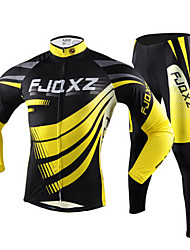 FJQXZ Men's Cycling Jersey + Tights (Suits) Long Sleeve Winter Autumn Polyester Mesh Jersey Lycra Cushion Tights Black+Yellow Breathable