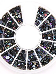 Mixed Sizes Black AB Nail Art Crystal Acrylic Rhinestones Glittery Nail Jewelry for DIY Nail Design