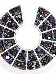 смешанные размеры черный AB ногтей Art Crystal акриловые стразы блестящий лак для украшения для поделок дизайна ногтей