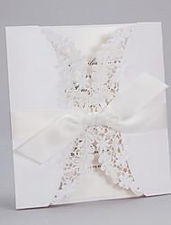 Elegant Flora Design White Wedding Invitation with Bowknot-Set Of 20/50