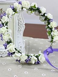 rosettes blanches de mousse PE avec billes de verre fleurs artificielles Coiffes de mariage guirlande nuptiale de bandeau réalisés à la main des