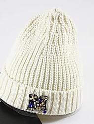 Women's Pure Diamond Bead Crochet Knitting Woolen Hat