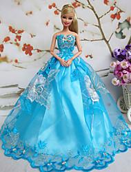 Barbie Doll Deluxe Violet Pattern Blue Polyester Princess Dress