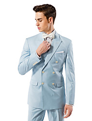 Light Blue Solid Tailored Fit Suit In Viscose