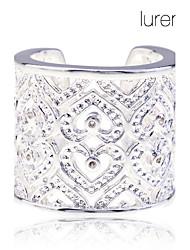 plaqué lureme 925 2.2cm sterling l'argent des femmes coeur creux anneau ouvert