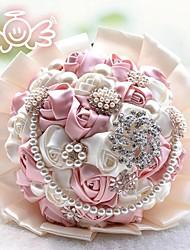 Luxury Flower Rose Bouquet 26cm Diameter Pure Handmade Silk Wedding Bouquet Flowers Bridesmaid Bouquets (More Colors)