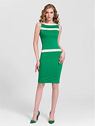 Cocktail Party Dress - Multi-color Plus Sizes Sheath/Column Bateau Knee-length Cotton