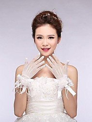 Fishnet Fingertips Wrist Length Wedding Gloves with Flowers with Lace ASG11
