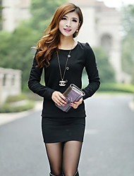 Autumn And Winter Women's Long-sleeved Cotton Knit Dress OL Slim Package Hip 099