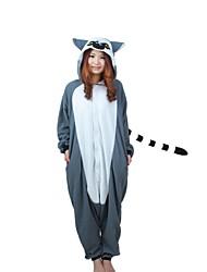 Kigurumi Pyjamas Affe Gymnastikanzug/Einteiler Fest/Feiertage Tiernachtwäsche Halloween Grau Patchwork Polar-Fleece Kigurumi Für Unisex