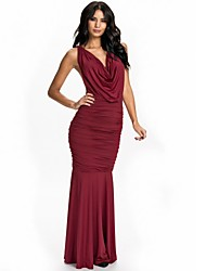 Women's Solid Red Dress , Sexy/Party/Maxi Cowl Sleeveless