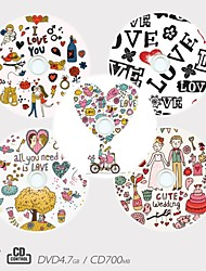 Personalized CD-R/DVD-R Recordable Disc Love Pattern Different Designs Magic Gift (Set of 5)