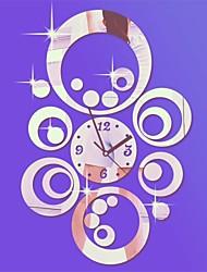 """20 """"h estilo moderno círculos redondos del reloj DIY 3D de pared espejo de acrílico"""