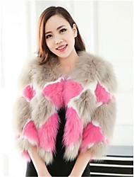 abrigos de piel de zorro chaqueta de lana de corte y empalme de piel de conejo de las mujeres (más colores)