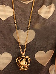 Women's  Diamond Crown Pearl Necklace Retro Sweater Chain