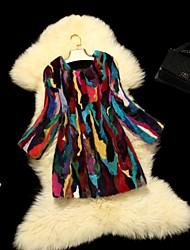 Fur Coats Women's Colorful Rabbit Fur Coat(Color Mixed Randomly)