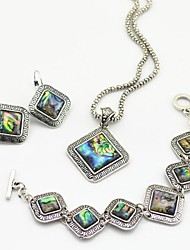 Toonykelly Vintage Look Antique Silver Abalone Shell(Earring and Necklace and Bracelet) Jewelry Set