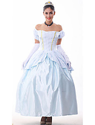 Brocade Silver Peplum Blue Ball Gown Princess Costumefor Carnival