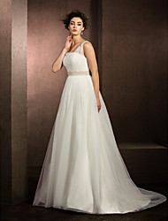 Lanting Ball Gown Wedding Dress - Ivory Court Train Straps Tulle