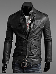 Men's Stand Coats & Jackets , PU Long Sleeve Casual Pocket Fall