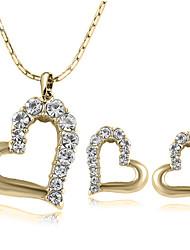 SNA Women's Crystal Earrings Necklace Set 3Pcs Set