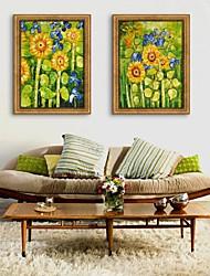 Floral/Botanical Framed Canvas / Framed Set Wall Art,PVC Golden No Mat With Frame Wall Art