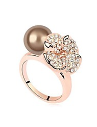 Austria Pearl Flower Alloy Plating Gold Ring (More Colors)