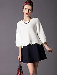o pescoço de manga trimestre sólido cor de três magros elegantes blusas femininas casual