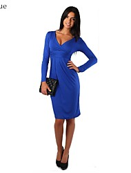 Women's Solid Blue/Red/Black/Brown/Gray Dress , Casual Deep V Long Sleeve