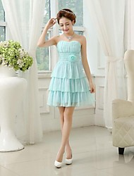 Tea-length Chiffon Bridesmaid Dress A-line / Princess Sweetheart with Criss Cross / Ruching