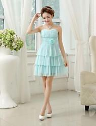 Vestido de Madrinha - Lilás/Azul de céu claro/branco Linha-A/Princesa Curação Comprimento Médio Chiffon