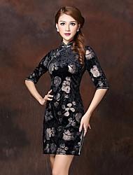 cuvée haut de gamme de l'impression robe de velours chinois des femmes