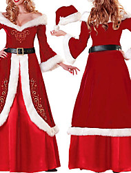 Cosplay Costumes / Party Costume Santa Suits Festival/Holiday Halloween Costumes Red Solid Dress / Gloves / T-Back / HeadbandHalloween /