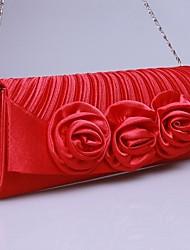 élastiques en satin sac à main de soirée de mariage avec rosette florale (plus de couleurs)