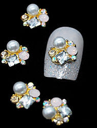 10pcs  Golden 3D Rhinestone Pearl Flower DIY Alloy Accessories Nail Art Decoration