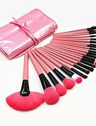 24pcs lã profissional escovas kit de maquiagem cosméticos conjunto de pincel compõem ferramentas com caso bonito do rosa