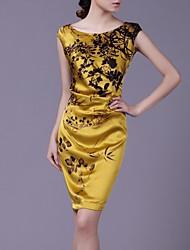 Rundhals-Ausschnitt Blumendruck hochwertigen Seidenkleid Frauen