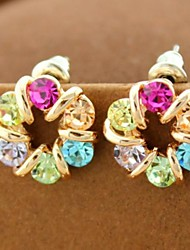 Colorful Czech Diamond Earrings