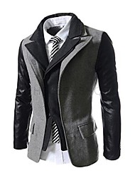 Men's Long Sleeve Casual Jacket,Tweed Solid Black / Gray